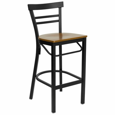 HERCULES Black Ladder Back Metal Bar Stool with Cherry Wood Seat - XU-DG6R9BLAD-BAR-CHYW-GG