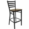 HERCULES Black Ladder Back Metal Bar Stool with Mahogany Wood Seat - XU-DG697BLAD-BAR-MAHW-GG
