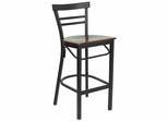 HERCULES Black Ladder Back Metal Bar Stool with Mahogany Wood Seat - XU-DG6R9BLAD-BAR-MAHW-GG