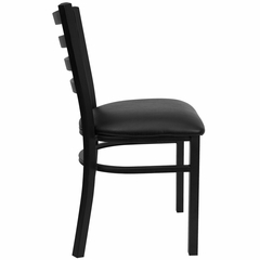 HERCULES Black Ladder Back Metal Chair with Black Vinyl Seat - XU-DG694BLAD-BLKV-GG