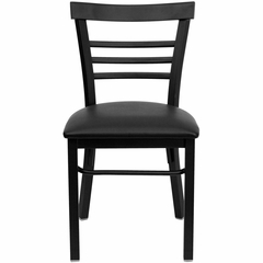 HERCULES Black Ladder Back Metal Chair with Black Vinyl Seat - XU-DG6Q6B1LAD-BLKV-GG