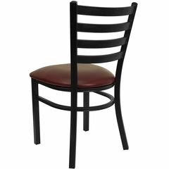 HERCULES Black Ladder Back Metal Chair with Burgundy Vinyl Seat - XU-DG694BLAD-BURV-GG