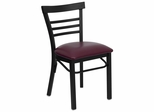 HERCULES Black Ladder Back Metal Chair with Burgundy Vinyl Seat - XU-DG6Q6B1LAD-BURV-GG