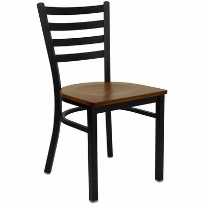 HERCULES Black Ladder Back Metal Chair with Cherry Wood Seat - XU-DG694BLAD-CHYW-GG