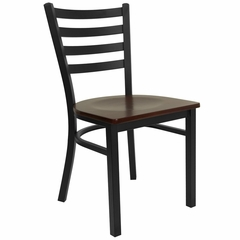 HERCULES Black Ladder Back Metal Chair with Mahogany Wood Seat - XU-DG694BLAD-MAHW-GG