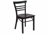 HERCULES Black Ladder Back Metal Chair with Mahogany Wood Seat - XU-DG6Q6B1LAD-MAHW-GG
