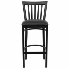 HERCULES Black School House Back Metal Bar Stool with Black Vinyl Seat - XU-DG6R8BSCH-BAR-BLKV-GG