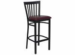 HERCULES Black School House Back Metal Bar Stool with Burgundy Vinyl Seat - XU-DG6R8BSCH-BAR-BURV-GG