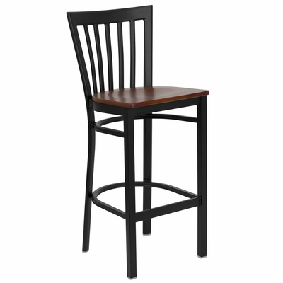 HERCULES Black School House Back Metal Bar Stool with Cherry Wood Seat - XU-DG6R8BSCH-BAR-CHYW-GG