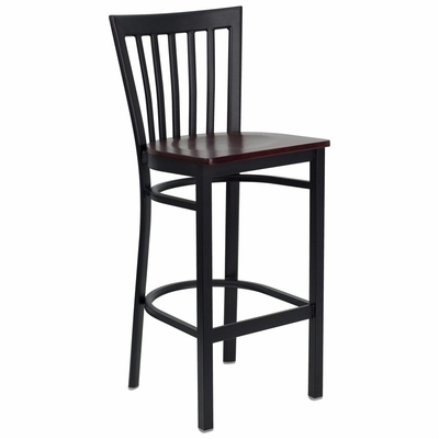 HERCULES Black School House Back Metal Bar Stool with Mahogany Wood Seat - XU-DG6R8BSCH-BAR-MAHW-GG