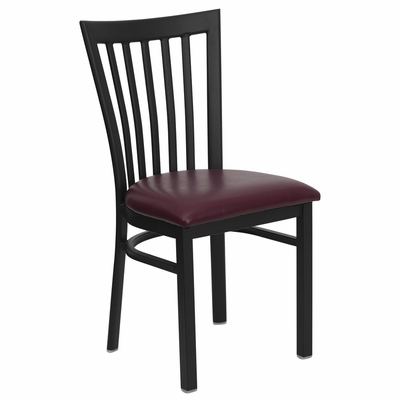 HERCULES Black Schoolhouse Back Metal Chair with Burgundy Vinyl Seat - XU-DG6Q4BSCH-BURV-GG