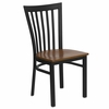 HERCULES Black Schoolhouse Back Metal Chair with Cherry Wood Seat - XU-DG6Q4BSCH-CHYW-GG