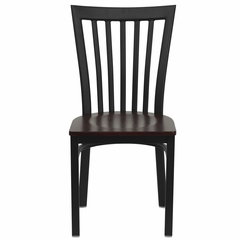HERCULES Black Schoolhouse Back Metal Chair with Mahogany Wood Seat - XU-DG6Q4BSCH-MAHW-GG