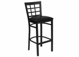 HERCULES Black Window Back Metal Bar Stool with Black Vinyl Seat - XU-DG6R7BWIN-BAR-BLKV-GG