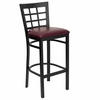 HERCULES Black Window Back Metal Bar Stool with Burgundy Vinyl Seat - XU-DG6R7BWIN-BAR-BURV-GG