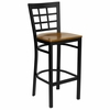 HERCULES Black Window Back Metal Bar Stool with Cherry Wood Seat - XU-DG6R7BWIN-BAR-CHYW-GG