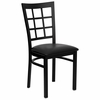 HERCULES Black Window Back Metal Chair with Black Vinyl Seat - XU-DG6Q3BWIN-BLKV-GG