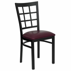 HERCULES Black Window Back Metal Chair with Burgundy Vinyl Seat - XU-DG6Q3BWIN-BURV-GG