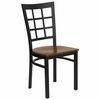 HERCULES Black Window Back Metal Chair with Cherry Wood Seat - XU-DG6Q3BWIN-CHYW-GG