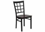 HERCULES Black Window Back Metal Chair with Mahogany Wood Seat - XU-DG6Q3BWIN-MAHW-GG