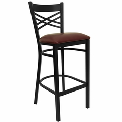 "HERCULES Black """"X"""" Back Metal Bar Stool with Burgundy Vinyl Seat - XU-6F8BXBK-BAR-BURV-GG"