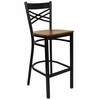 "HERCULES Black """"X"""" Back Metal Bar Stool with Cherry Wood Seat - XU-6F8BXBK-BAR-CHYW-GG"