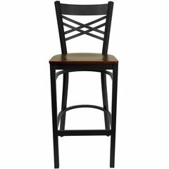 "HERCULES Black """"X"""" Back Metal Bar Stool with Mahogany Wood Seat - XU-6F8BXBK-BAR-MAHW-GG"