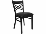 "HERCULES Black ""X"" Back Metal Chair with Black Vinyl Seat - XU-6FOBXBK-BLKV-GG"