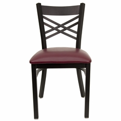 "HERCULES Black ""X"" Back Metal Chair with Burgundy Vinyl Seat - XU-6FOBXBK-BURV-GG"