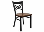 "HERCULES Black ""X"" Back Metal Chair with Cherry Wood Seat - XU-6FOBXBK-CHYW-GG"