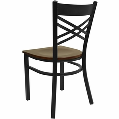 "HERCULES Black ""X"" Back Metal Chair with Mahogany Wood Seat - XU-6FOBXBK-MAHW-GG"