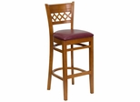 HERCULES Cherry Finished Lattice Back Wood Bar Stool - Burgundy Vinyl Seat - XU-DGW0015BARLAT-CHY-BURV-GG