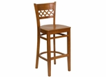 HERCULES Cherry Finished Lattice Back Wood Bar Stool - XU-DGW0015BARLAT-CHY-GG