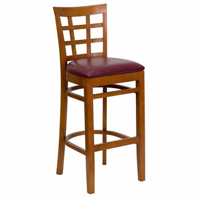 HERCULES Cherry Finished Window Back Wooden Restaurant Bar Stool - Burgundy Vinyl Upholstered Seat - XU-DGW0007BARWIN-CHY-BURV-GG