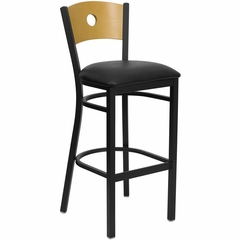 HERCULES Circle Back Black Metal Bar Stool with Black Vinyl Seat and Natural Wood Back - XU-DG-6F6B-CIR-BAR-BLKV-GG