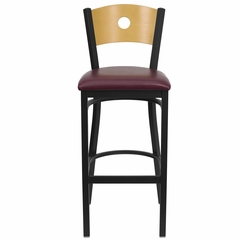 HERCULES Circle Back Black Metal Bar Stool with Burgundy Vinyl Seat and Natural Wood Back - XU-DG-6F6B-CIR-BAR-BURV-GG