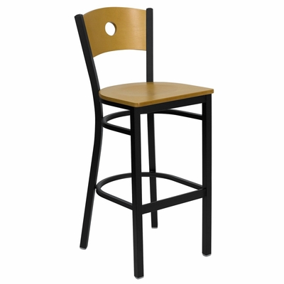 HERCULES Circle Back Black Metal Bar Stool with Natural Wood Seat and Back - XU-DG-6F6B-CIR-BAR-NATW-GG