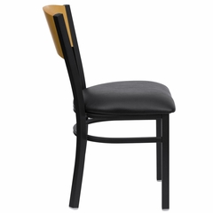 HERCULES Circle Back Black Metal Restaurant Dining Chair with Black Vinyl Seat and Natural Wood Back - XU-DG-6F2B-CIR-BLKV-GG