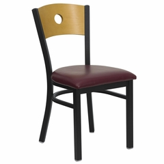 HERCULES Circle Back Black Metal Restaurant Dining Chair with Burgundy Vinyl Seat and Natural Wood Back - XU-DG-6F2B-CIR-BURV-GG