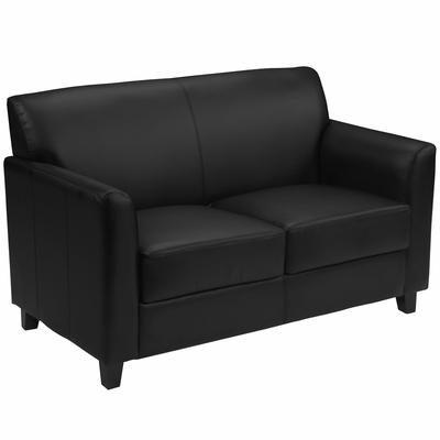 HERCULES Diplomat Series Black Leather Love Seat  - BT-827-2-BK-GG