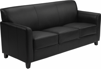 HERCULES Diplomat Series Black Leather Sofa  - BT-827-3-BK-GG