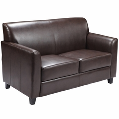 HERCULES Diplomat Series Brown Leather Love Seat  - BT-827-2-BN-GG