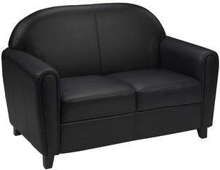 HERCULES Envoy Series Black Leather Love Seat  - BT-828-2-BK-GG