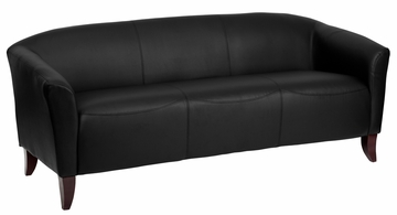 HERCULES Imperial Series Black Leather Sofa - 111-3-BK-GG