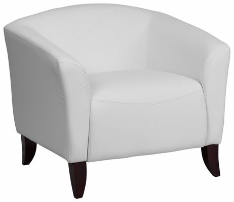 HERCULES Imperial Series White Leather Chair - 111-1-WH-GG