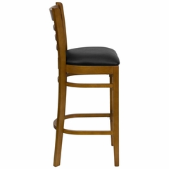HERCULES Ladder Back Cherry Wood Bar Stool with Black Vinyl Seat - XU-DGW0005BARLAD-CHY-BLKV-GG