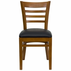 HERCULES Ladder Back Cherry Wood Chair with Black Vinyl Seat - XU-DGW0005LAD-CHY-BLKV-GG