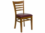 HERCULES Ladder Back Cherry Wood Chair with Burgundy Vinyl Seat - XU-DGW0005LAD-CHY-BURV-GG
