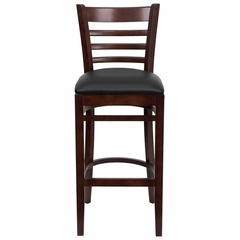 HERCULES Ladder Back Mahogany Wood Bar Stool with Black Vinyl Seat - XU-DGW0005BARLAD-MAH-BLKV-GG