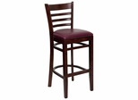 HERCULES Ladder Back Mahogany Wood Bar Stool with Burgundy Vinyl Seat - XU-DGW0005BARLAD-MAH-BURV-GG